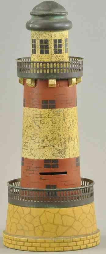 blech spielzeug leuchtturm als spardose gelaender