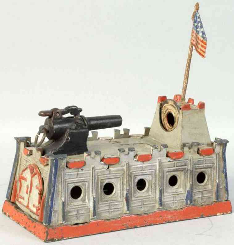 cast iron toy cannon mechanical bank five holes