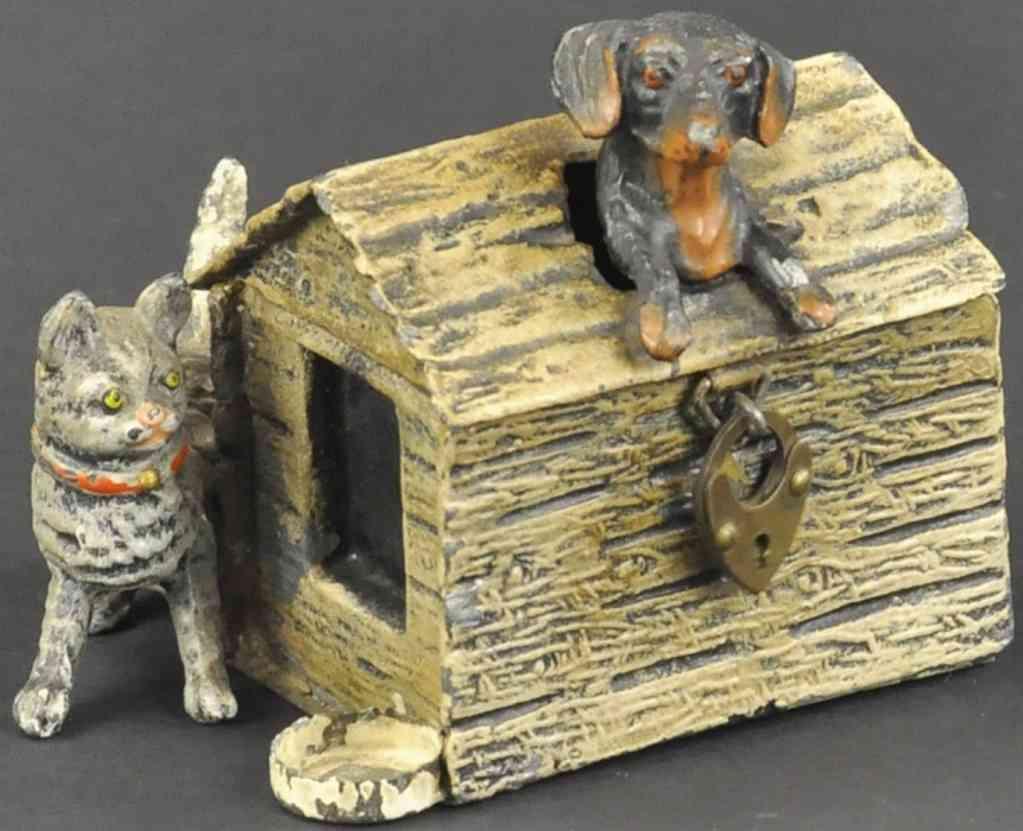 spielzeug gusseisen spardose hund und katze hundehuette