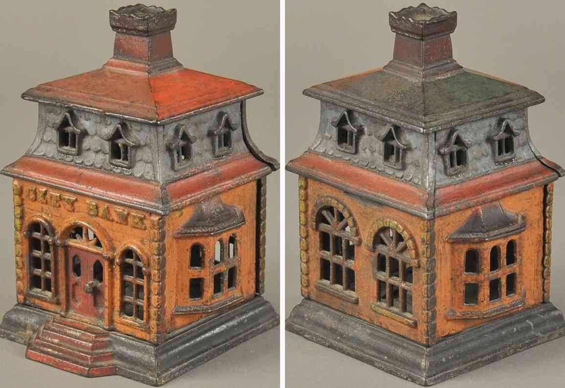 cast iron toy city bank chimney still bank thomas swan