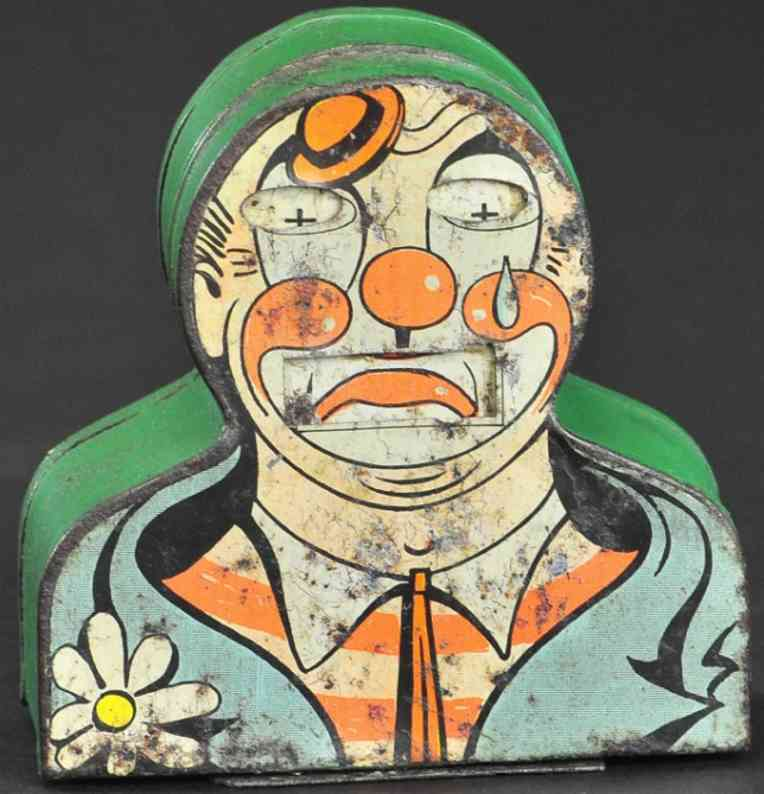tin toy mechanical bank happy frown clown