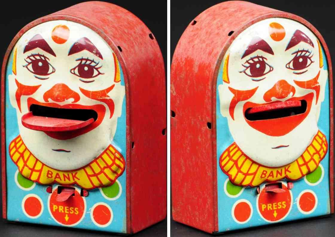 blech spielzeug spardose clowngesicht