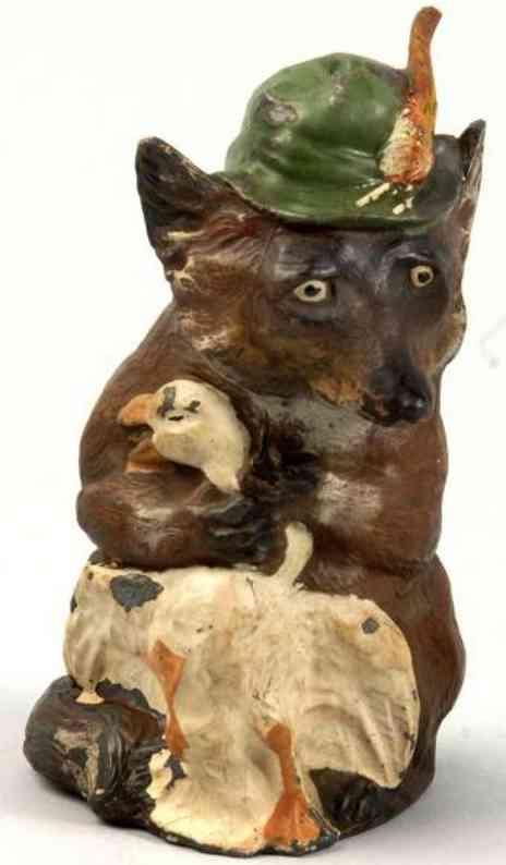 Fuchs aus Blei als Spardose