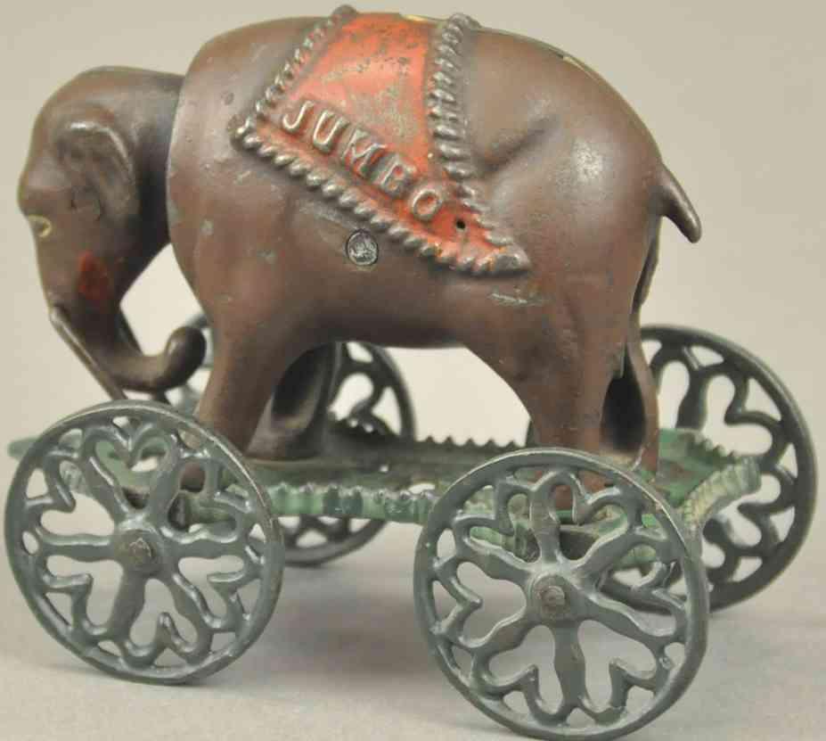 spielzeug gusseisen elefant auf raedern als spardose