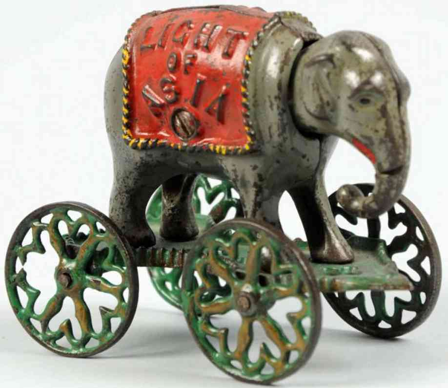 cast iron toy light of asia mechanical bank elepfant on platform