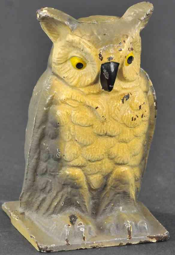 vindex cast iron toy owl still bank