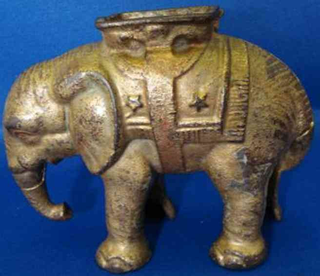 williams ac 6348 cast iron toy elephant with howdah bank comes in red, blue, green or plain