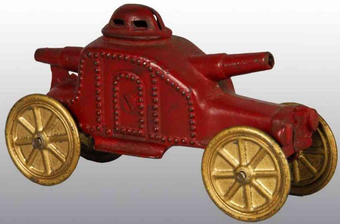 williams ac cast iron toy armored car still bank  red