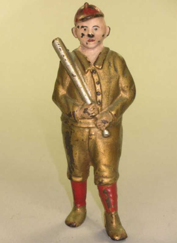 williams ac cast iron toy baseball player still bank gold