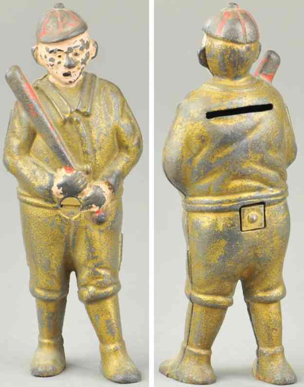 williams ac cast iron toy baseball player still bank gold