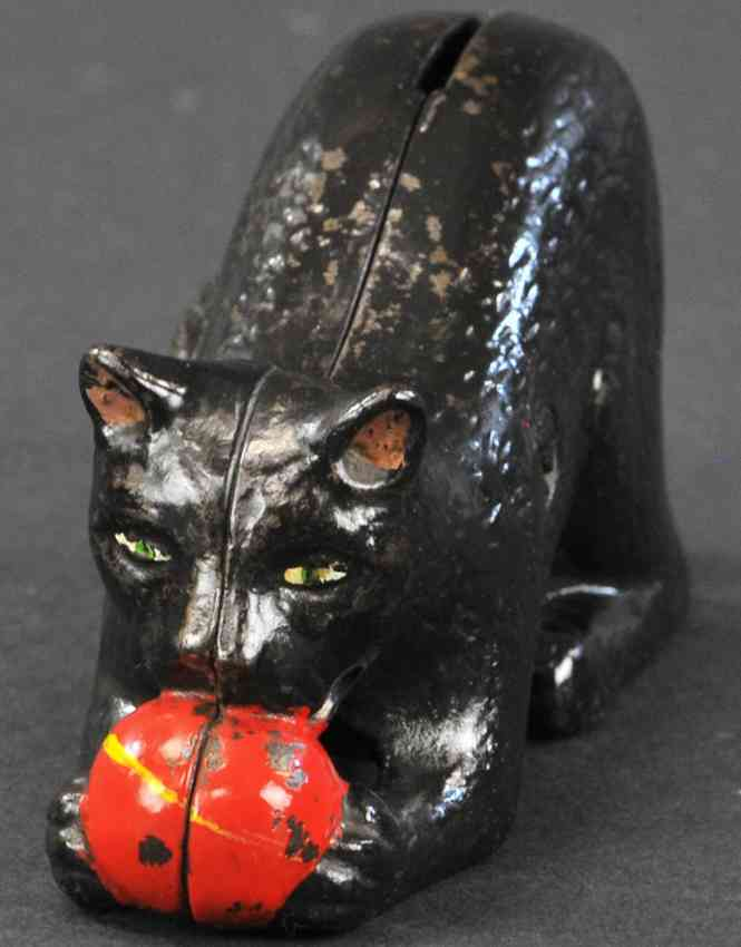 williams ac cat cast iron toy cat with ball still bank black red