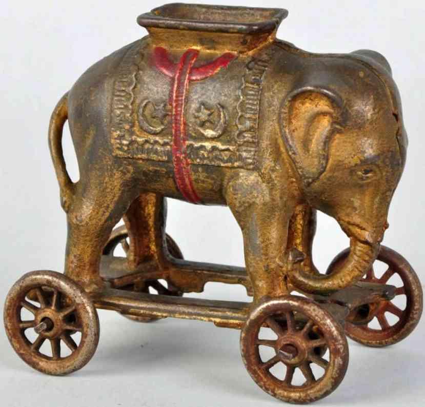 williams ac cast iron toy elephant on wheels still bank