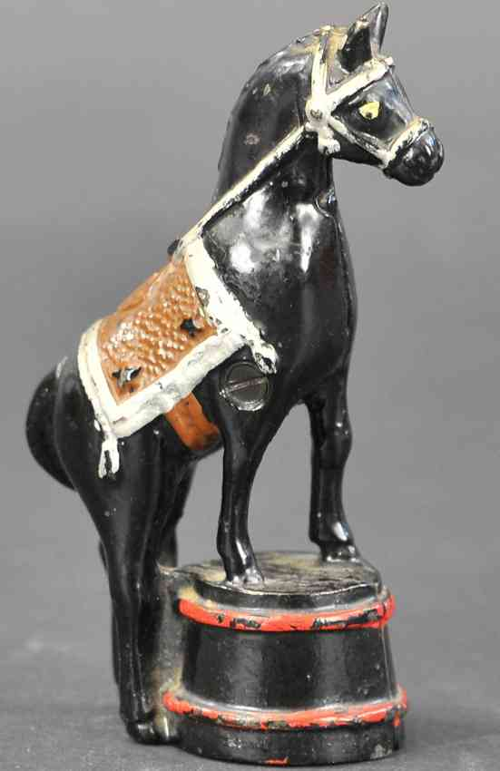 williams ac cast iron toy horse on tub still bank black red silver saddle brown