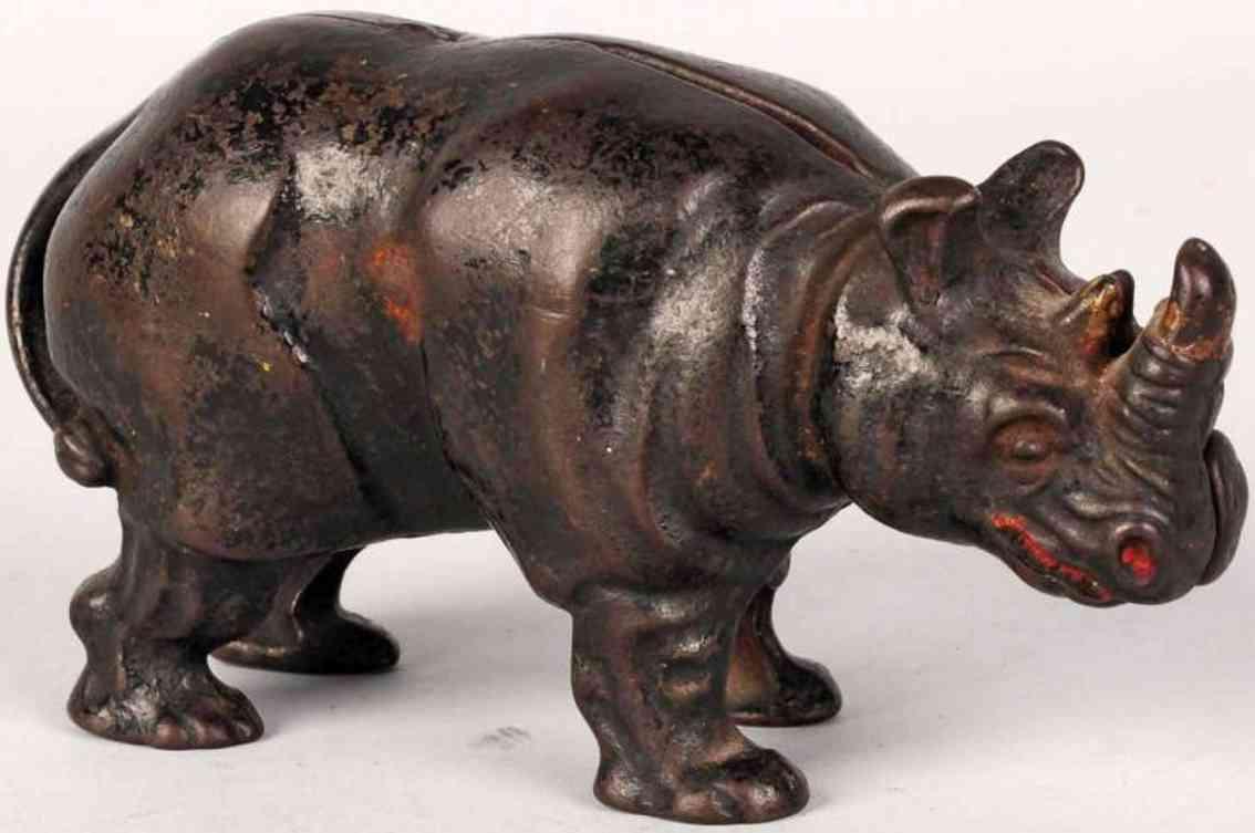 williams ac cast iron toy rhino still bank