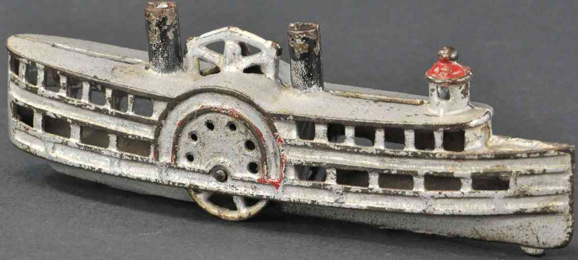 williams ac cast iron toy paddle wheel still bank in white