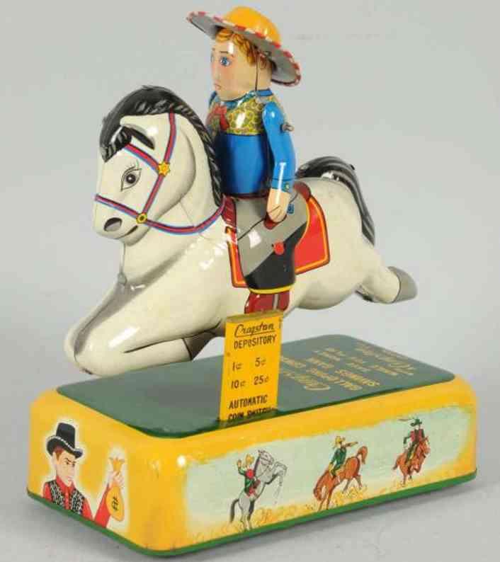 yonezawa galloping cowboy tin toy battery-operated bank