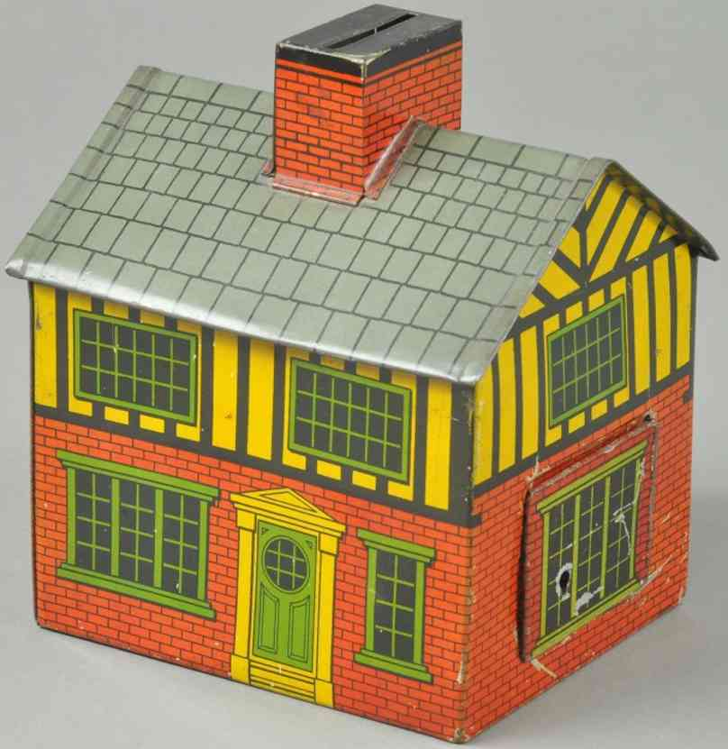 et gee & sons ltd tin toy cottage still bank