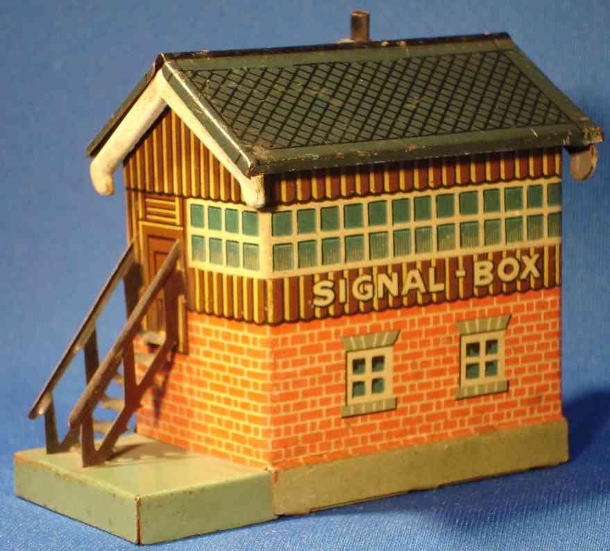 bing 11/923/26 spielzeug eisenbahn stellwerk mit seitlichem treppenaufgang signal-box