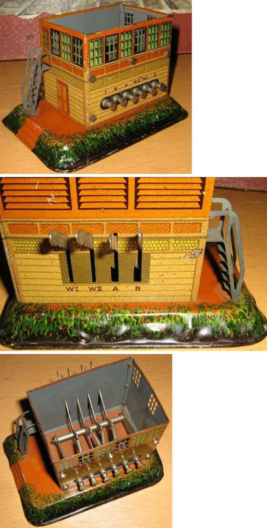 bing 12/6112/1 spielzeug eisenbahn stellwerk stellwerk auf geländesockel mit geprägtem walmdach, treppe m