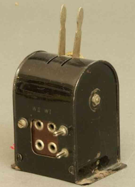 bing 12/6115 spielzeug eisenbahn stellwerk stellwerk für 2 weichen in schwarz, 2 schalthebel
