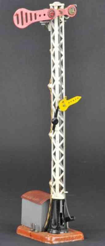 maerklin spielzeug eisenbahn stellwerk gittersignal mit schuppen bemalt in grau mit braunem dach, m