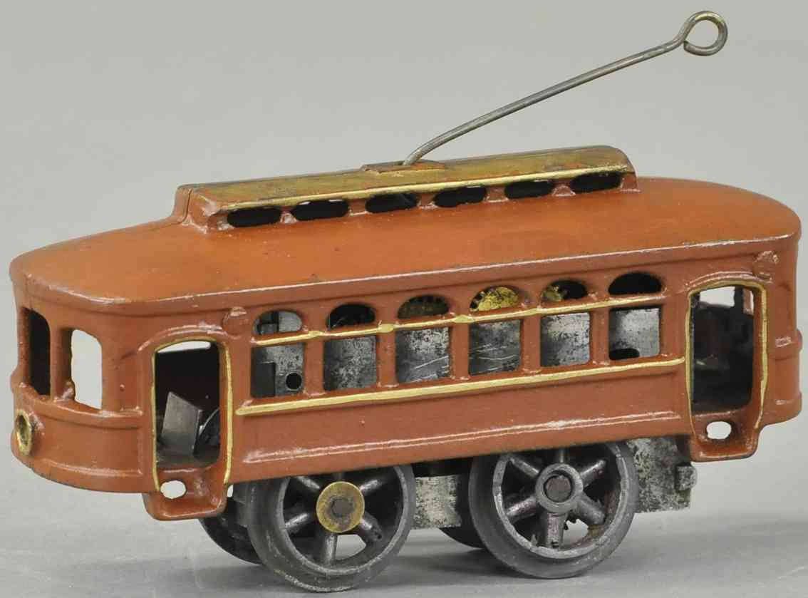 american flyer toy company  cast iron toy tram clockwork trolley