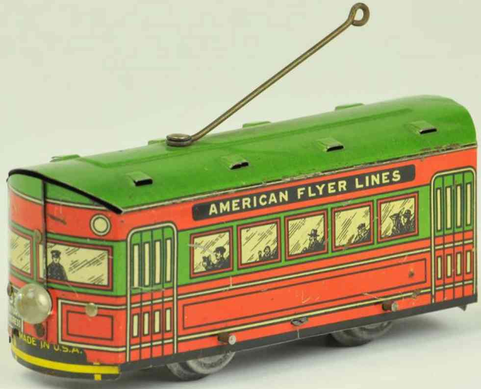 american flyer tin toy tram century of progress trolley car
