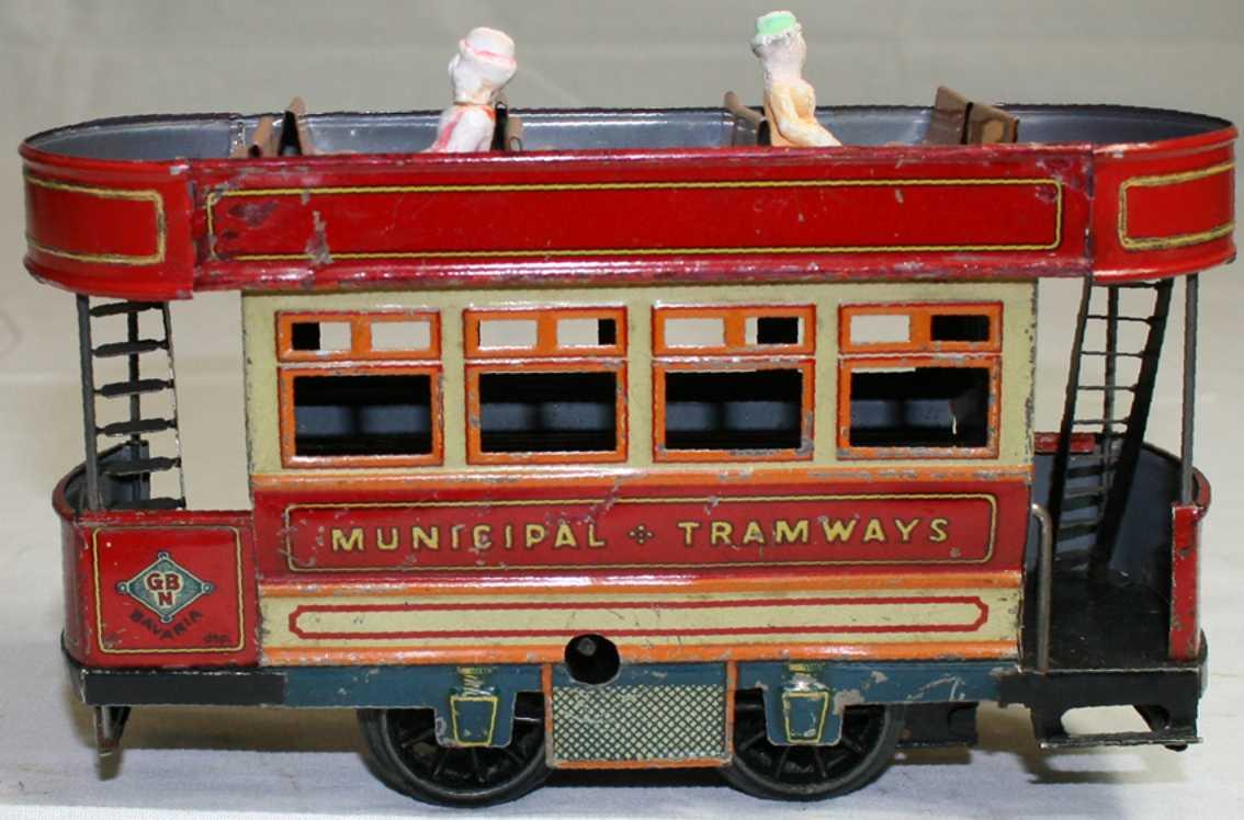 bing 10244 tin toy municipal tramway clockwork roof seats gauge 0