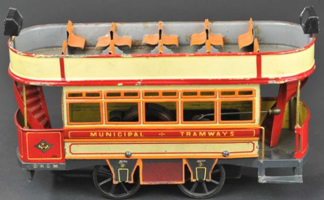 bing 134435/1 tin toy tram double decker trolley clockwork