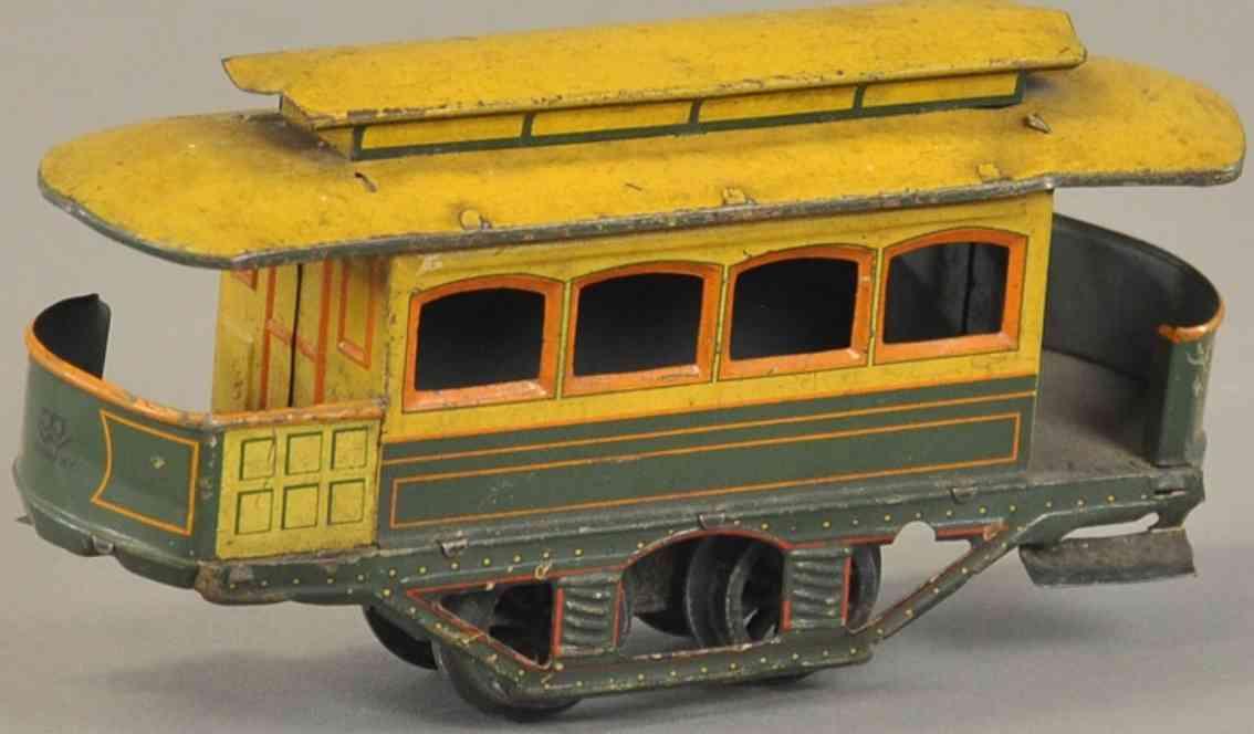 bing blech spielzeug strassenbahn uhrwerk gruen gelb