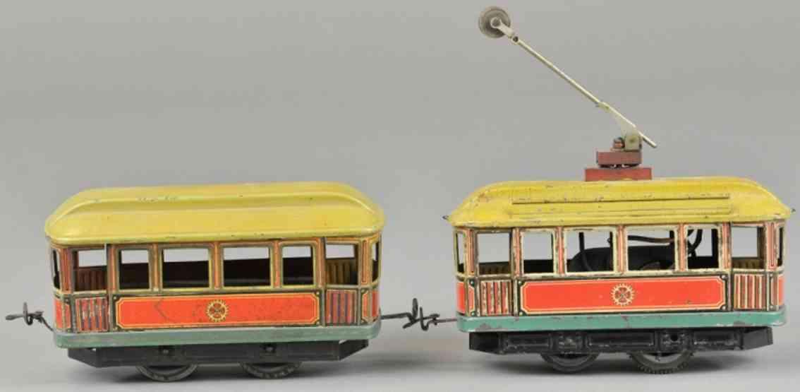 carette 1090/2 1090/3 blech spielzeug strassenbahn mit anhaenger 35