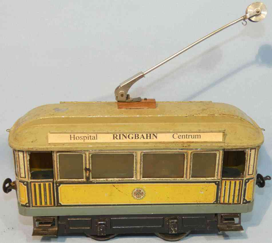 carette 1090/2 blech elektrische strassenbahn gelb gruen stromabnehmer spur 1