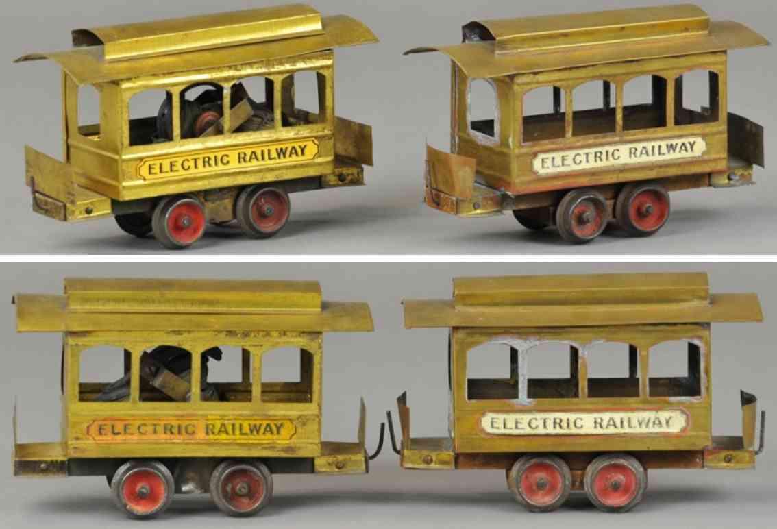 carlisle & finch 1 toy tram electric railway no.1 trolley trailer brass