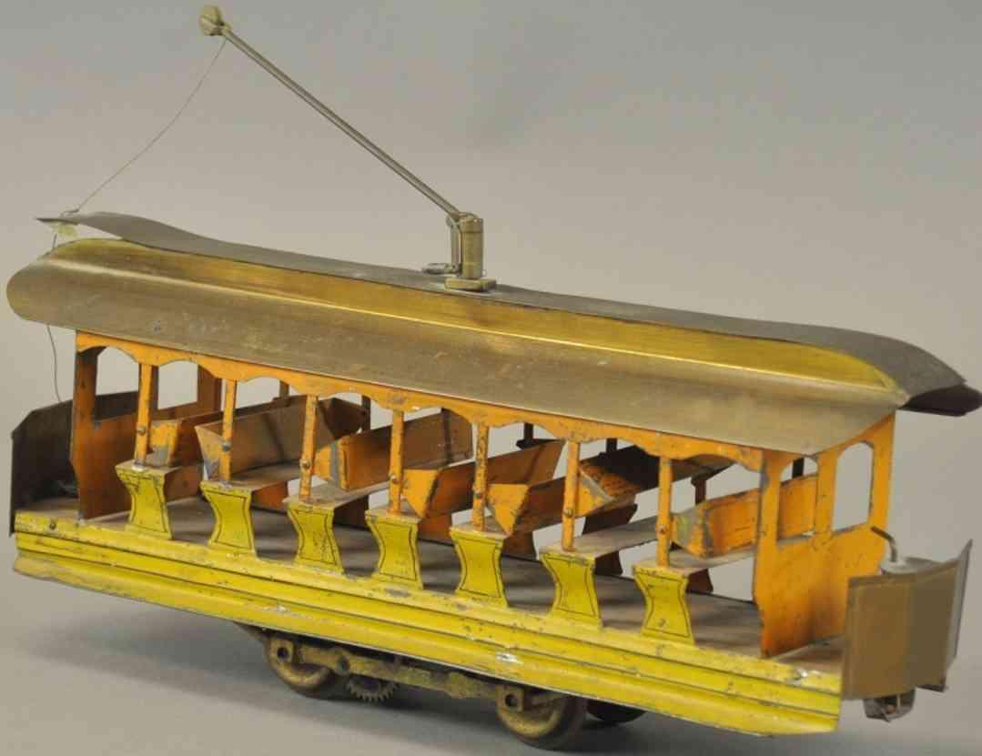 carlisle & finch 100 blech spielzeug sommerstrassenbahn gelb elektrisch