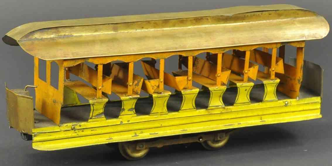 carlisle & finch 19 blech spielzeug sommer-strassenbahn gelb orange
