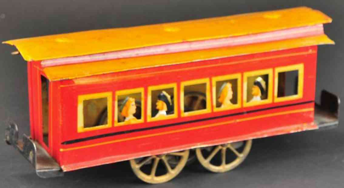 clark dp tin toy tram trolley with people