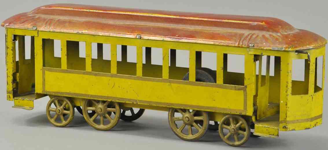 dayton blech spielzeug strassenbahn gelb rotes dach