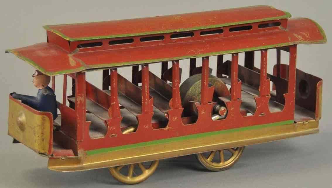 dayton stahlblech spielzeug  offene strassenbahn rot gold gold schaffner