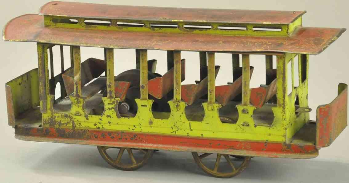 dayton stahlblech spielzeug strassenbahn mit friktionsantrieb rot gruen