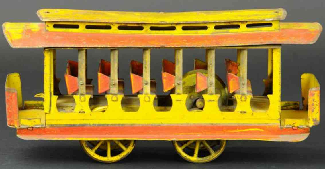 dayton stahlblech spielzeug strassenbahn gelb rot friktion