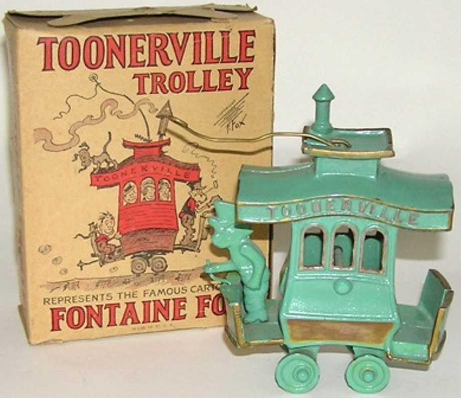 dent hardware co 6-310-50 cast iron toy tram toonerville trolley fontaine fox brass