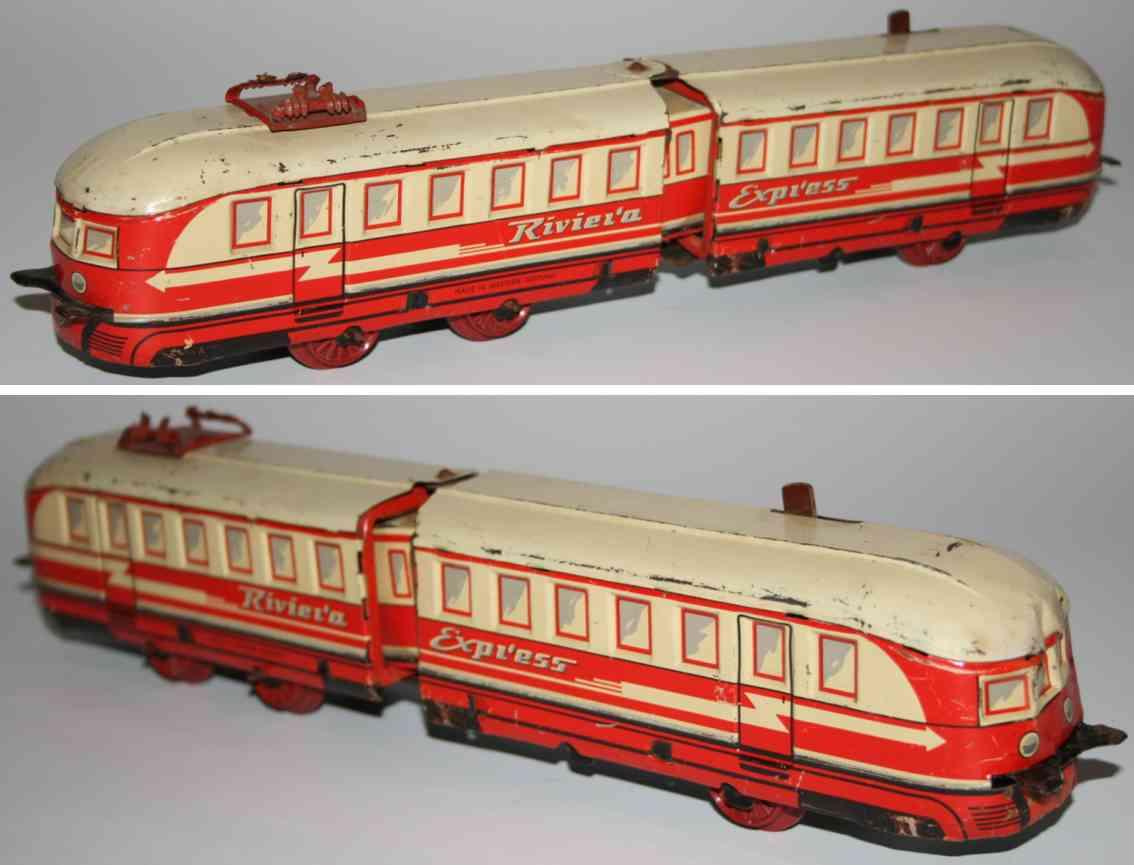 distler tin toy tramway train riviera express electric model