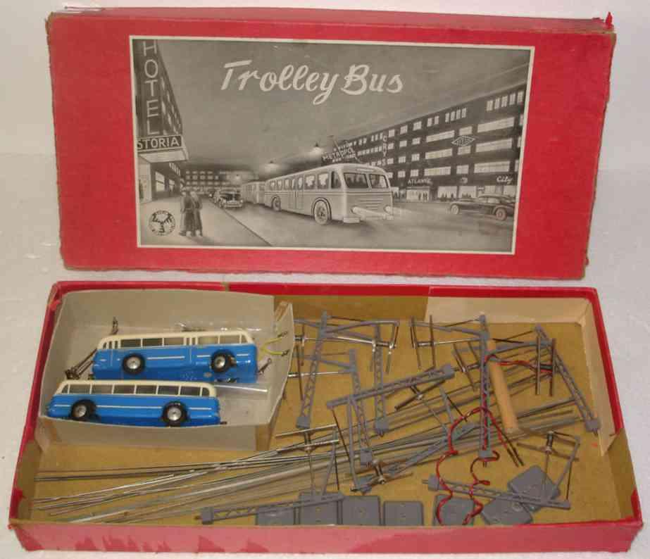 eheim blech spielzeug strassenbahn trolley bus, jeder bus ist 12,5 cm lang