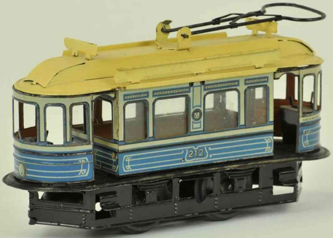 guenthermann 212 blech spielzeug strassenbahn uhrwerk blau