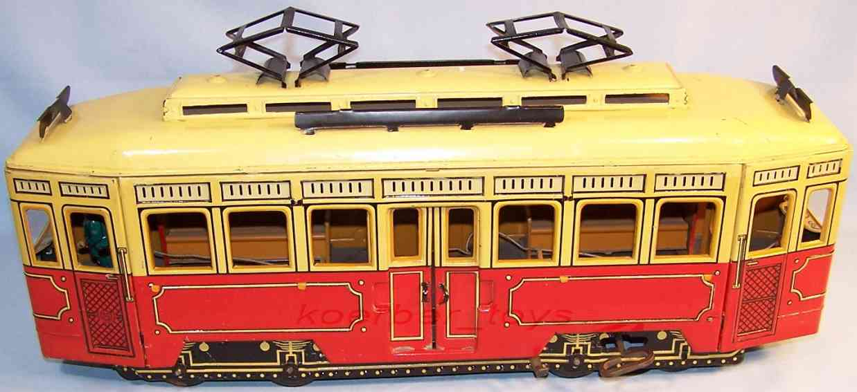Guenthermann Trolley Tramcar with clockwork in in red, yellow and black l