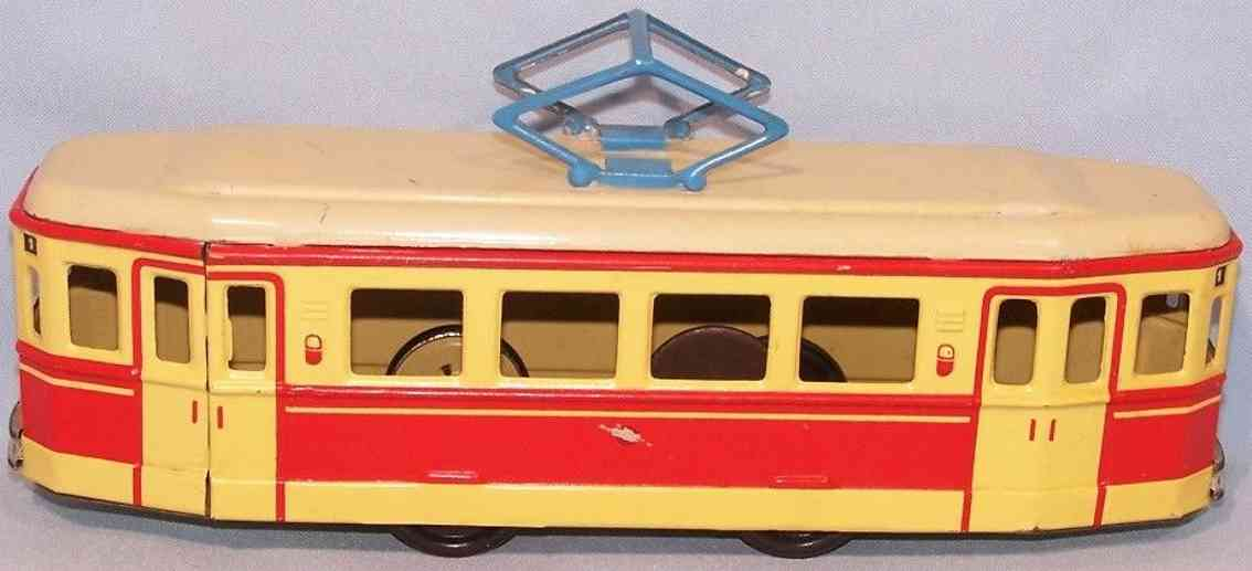 guenthermann tin toy tram tram with flywheel drive red yellow