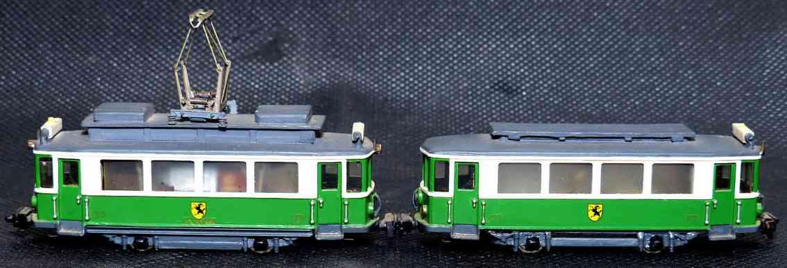 hamo blech spielzeug strassenbahn triebwagen anhaenger gruen weiss grau spur h0
