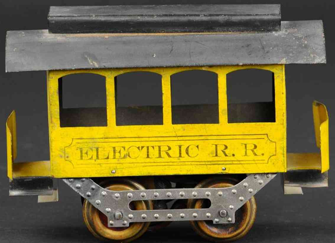 howard toy electric railroad rr trolley yellow black