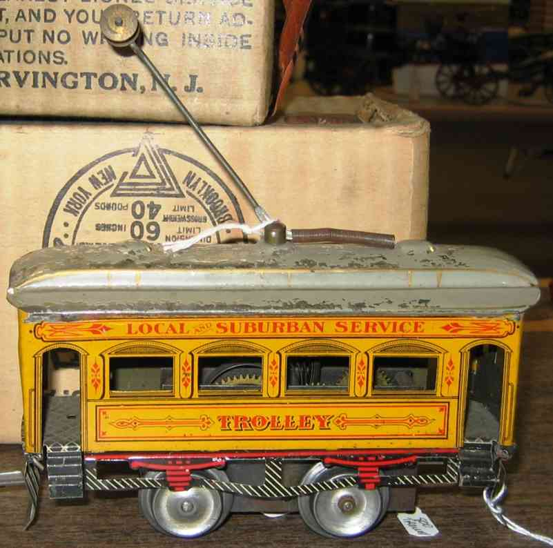 ives 800 tin toy tram clockwork trolley
