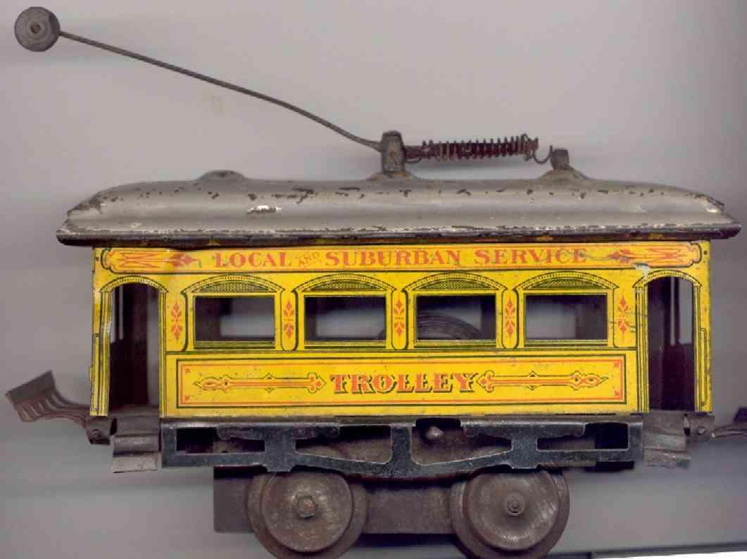 ives 800 blech spielzeug uhrwerk strassenbahn gelb spur 0